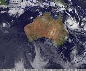 Cyclone Debbie satellite image