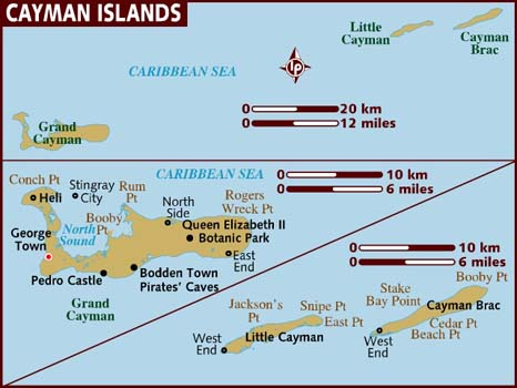 Cayman Islands map via Lonely Planet