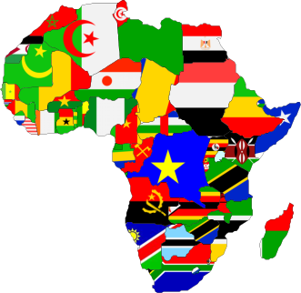African map and flags