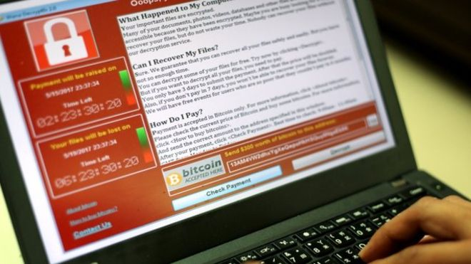 WannaCry image from the BBC