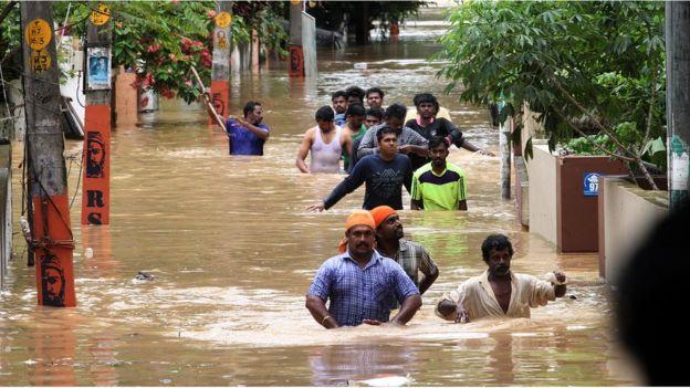 Kerala, India flooding - Image by Kaviyoor Santoosh via BBC