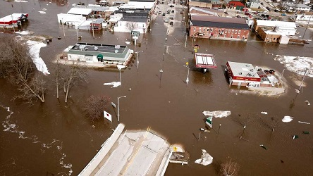 Flooding in Darlington, Wisconsin on 14 March. Source: Dave Kettering/AP